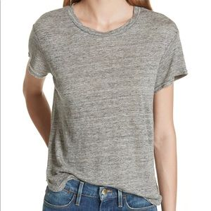 FRAME Linen Classic Oversized Tee Shirt in Gris